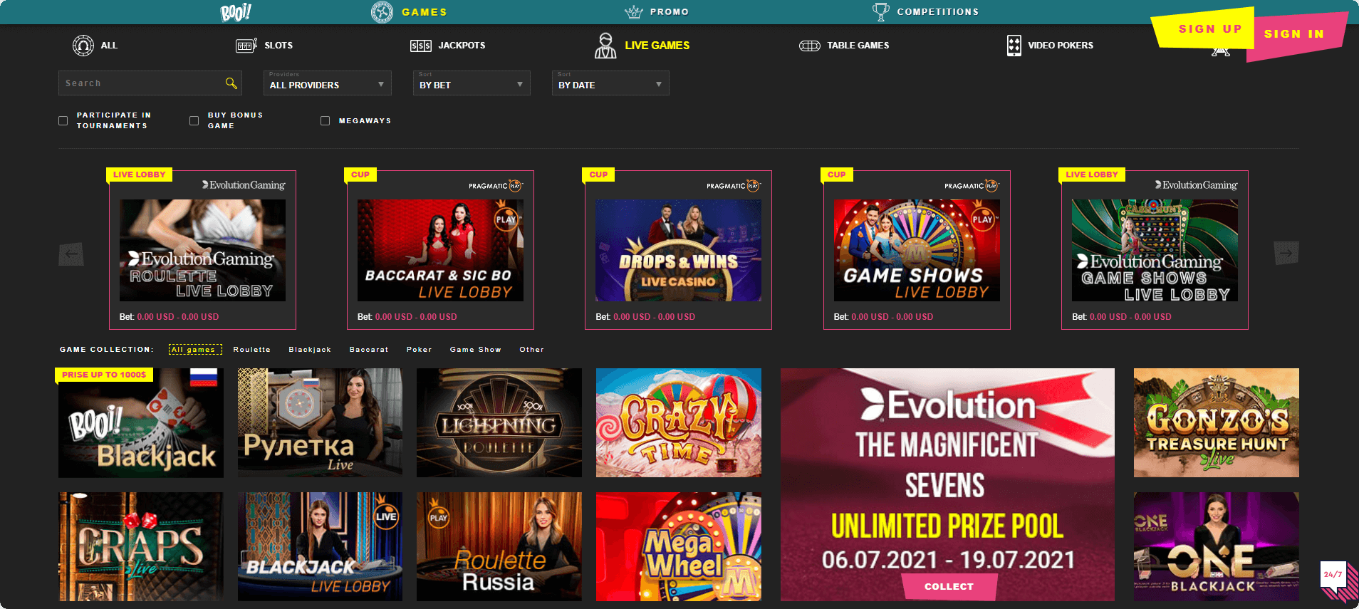 Booi casino Live games