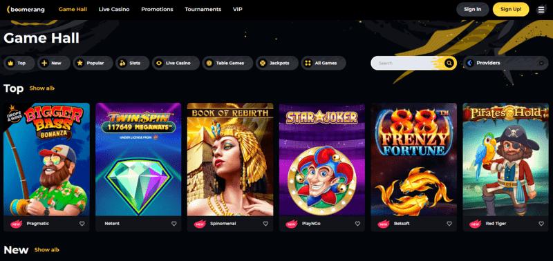 Boomerang casino lobby Canada